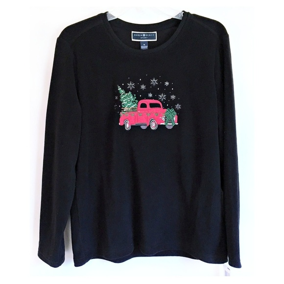 7abc9e46f5e Karen Scott Fleece Sweatshirt Top Red Truck Tree M